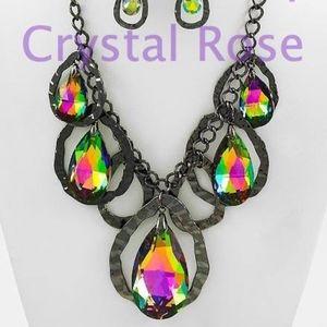Rainbow Iridescent Tear Drop Necklace